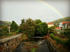 Rainbow over Rio Belelle, Spain by carrodeguas