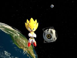 Classic Super Sonic in Space by JJsonicblast86