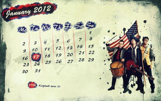 green day wallpaper calendar - january 2012 by the-wabbit