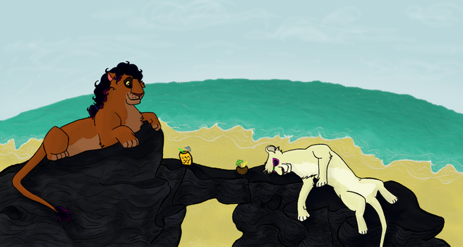 Ardin n Firehart at the Beach by Firehart95