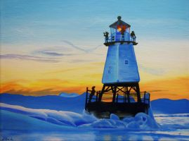 Lighthouse in Winter by MidnightTiger8140