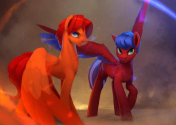 Goldblaze Phoenix and Solar Flare (Animated) by Rodrigues404