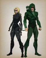 Animated Arrow and black canary character design by bigoso91