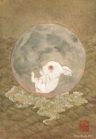 A rabbit falls on its behind at the moon by Hiroo-Suzuki