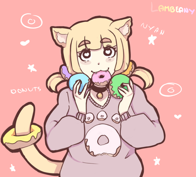 Donut Cat by Lambeany