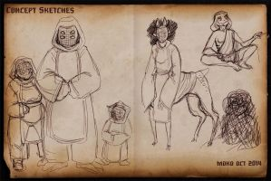 2014 OCT Concept Sketches 8 - Monks by RobinRone