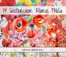 Watercolor Floral PNGs by LadyComma