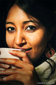 Girl Drinking Chai by astulock