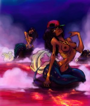 DrWrld prt2. Mermaids with gold stained bones by Chrissy-Christine