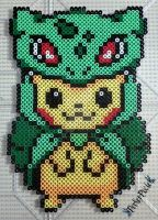 Pikachu in a Bulbasaur Hoodie by PerlerPixie