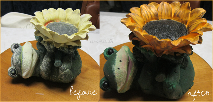 Before and After: Sunflower Frog by seremela05