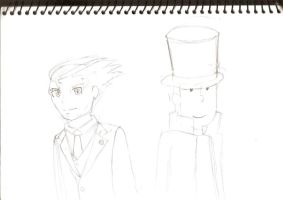 Phoenix Wright and Professor Layton by Its-Joe-Time