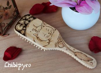 Wooden hairbrush sleeping cat by ChibiPyro