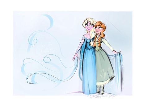 Queen Elsa and princess Anna by didouchafik