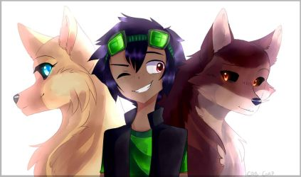 Art Trade   Kota And The Wolves By CAB-Corp by Lucasfan375