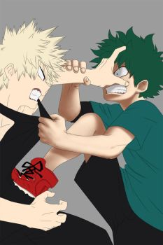 Boku no Hero Academia: Midoriya VS Bakugou WIP by Amaterasu-kun
