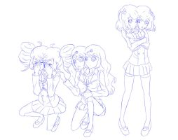 Two-headed Idol trio in school uniform by jim830928