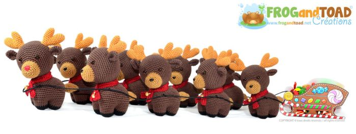 Amigurumi Crochet Reindeer  Candy Sleigh by FROG-and-TOAD