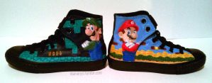 Mario Bros Shoes by LnknPrk7Snoopy