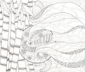Calamari111 - Line Drawing by peggymintun