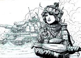 SanEspina Desert girl ink by santiagocomics