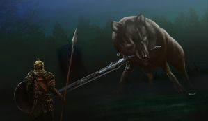 Dark Souls - Great Grey Wolf Sif by OniRuu