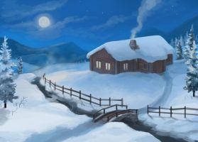 Snowy Cottage by jjnaas