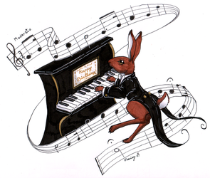 Piano Hare by DaisyDeddle