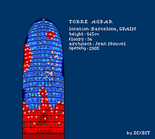 Torre Agbar in pixel art by Dixbit