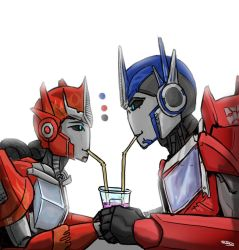 sharing a drink by SH-Illustration