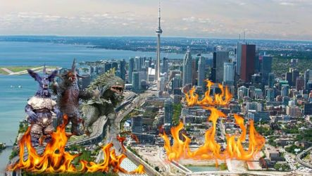 3 Monsters Invading Toronto by attilamaxsiolo