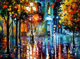 Old Streets 2 by Leonid Afremov by Leonidafremov
