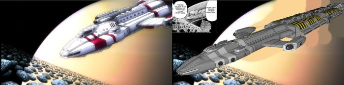 My Hydra Freighter vs ship in Space Brothers anime by Marian87