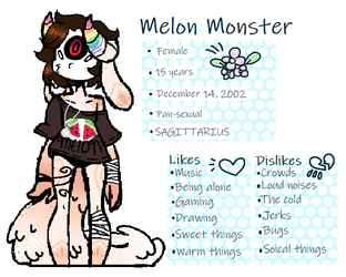 Melon Monster reference sheet by Melon0Monster