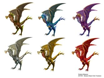 Bird Wyvern - Color Variations by Kmalmsten