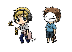 PewDie And Cry Chibies by DokuDoki
