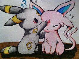 Umbreon and Espeon by xXXxNightShadexXXx