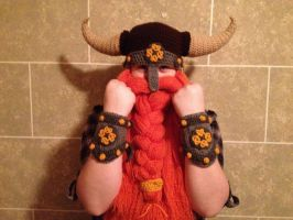 Crocheted battle helm with bracers by Drgibbs