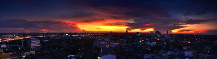 Balcony Sunset Panorama 3 by comsic