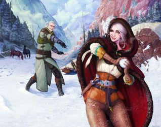 Witcher - Geralt and Ciri - Midwinter Celebration by ghostfire