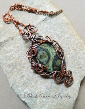 Kambaba Jasper and Copper Pendant by blackcurrantjewelry