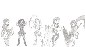 Mahou Shoujo Sketches (and height differences) by ignessie