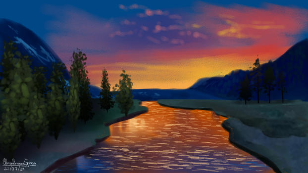 Sunset at the River by Kitty-Winder