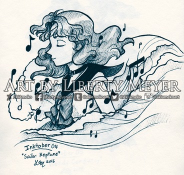 Inktober 04 Sailor Neptune by AkiAmeko
