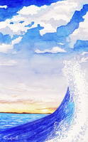 Watercolour Wave by ClefairyKid