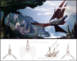Ornithopter Pirate Ship Ortho by MasterpieceLost