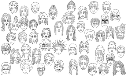 50 faces, anyone wanna color? :) by billybobjoebob4