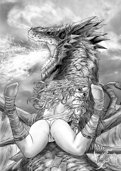 woman and dragon by newtonb