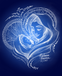 Virgin Mary and Baby Jesus Drawing Christmas 2015 by ColorfulArtist86