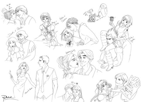 Fanart Couples Sketches by palnk